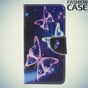 Чехол книжка для Huawei Honor 8 lite - с рисунком Бабочки