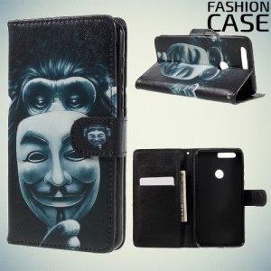 Чехол книжка для Huawei Honor 8 - с рисунком Обезьяна с маской