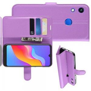 Чехол книжка для Huawei Honor 8A отделения для карт и подставка Фиолетовый