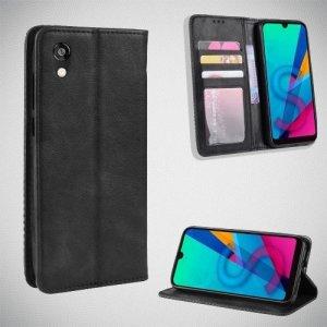 Чехол книжка для Huawei Honor 8S / Y5 2019 с магнитом и отделением для карты - Черный