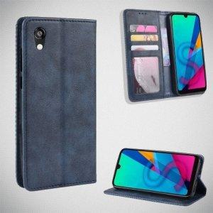 Чехол книжка для Huawei Honor 8S / Y5 2019 с магнитом и отделением для карты - Синий