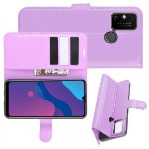 Чехол книжка для Huawei Honor 9A отделения для карт и подставка Фиолетовый