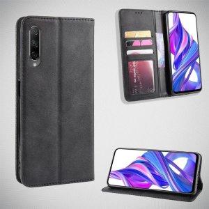Чехол книжка для Huawei Honor 9X / 9X Premium с магнитом и отделением для карты - Черный