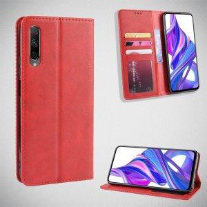 Чехол книжка для Huawei Honor 9X / 9X Premium с магнитом и отделением для карты - Красный