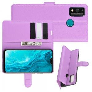 Чехол книжка для Huawei Honor 9X Lite отделения для карт и подставка Фиолетовый