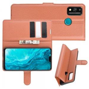 Чехол книжка для Huawei Honor 9X Lite отделения для карт и подставка Коричневый