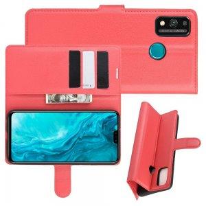 Чехол книжка для Huawei Honor 9X Lite отделения для карт и подставка Красный