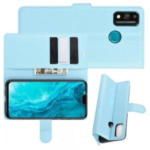 Чехол книжка для Huawei Honor 9X Lite отделения для карт и подставка Синий