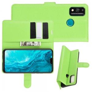 Чехол книжка для Huawei Honor 9X Lite отделения для карт и подставка Зеленый