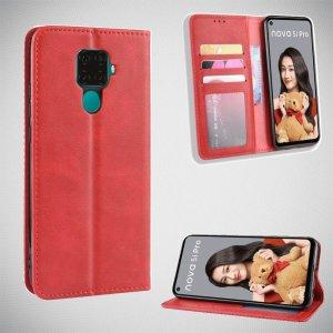 Чехол книжка для Huawei Mate 30 Lite с магнитом и отделением для карты - Красный