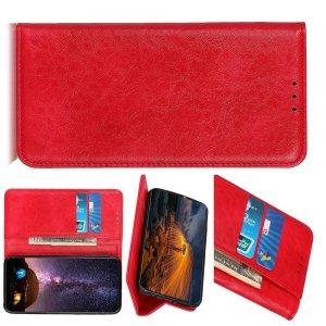 Чехол книжка для Huawei Mate 30 Pro с магнитом и отделением для карты - Красный