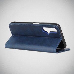 Чехол книжка для Huawei nova 5 с магнитом и отделением для карты - Синий