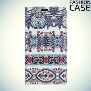 Чехол книжка для Huawei Nova lite 2017 - с рисунком Синие узоры