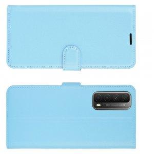 Чехол книжка для Huawei P Smart 2021 отделения для карт и подставка Голубой