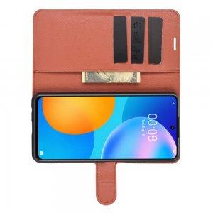 Чехол книжка для Huawei P Smart 2021 отделения для карт и подставка Коричневый
