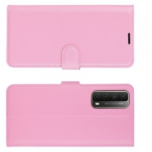 Чехол книжка для Huawei P Smart 2021 отделения для карт и подставка Розовый