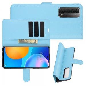 Чехол книжка для Huawei P Smart 2021 отделения для карт и подставка Синий