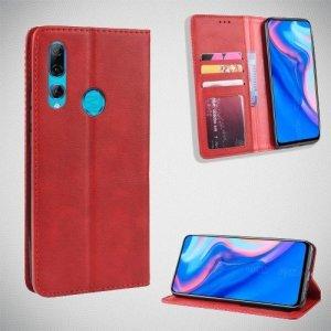 Чехол книжка для Huawei P Smart Z с магнитом и отделением для карты - Красный