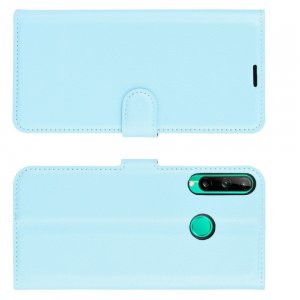 Чехол книжка для Huawei P40 lite E / Huawei Honor 9C отделения для карт и подставка Голубой