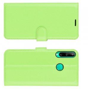 Чехол книжка для Huawei P40 lite E / Huawei Honor 9C отделения для карт и подставка Зеленый