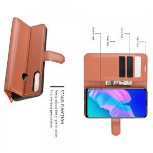 Чехол книжка для Huawei P40 lite E / Honor 9C отделения для карт и подставка Коричневый