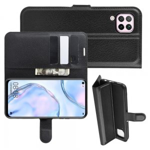 Чехол книжка для Huawei P40 Lite отделения для карт и подставка Черный
