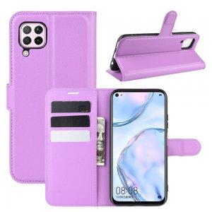 Чехол книжка для Huawei P40 Lite отделения для карт и подставка Фиолетовый
