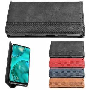 Чехол книжка для Huawei P40 Lite с магнитом и отделением для карты - Черный
