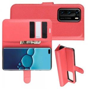 Чехол книжка для Huawei P40 отделения для карт и подставка Красный