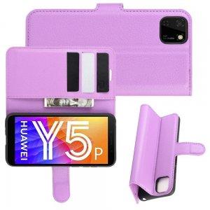 Чехол книжка для Huawei Y5p / Honor 9S отделения для карт и подставка Фиолетовый
