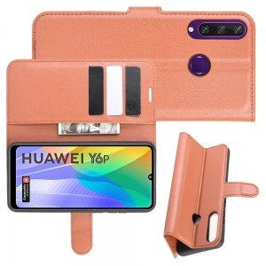 Чехол книжка для Huawei Y6p отделения для карт и подставка Коричневый