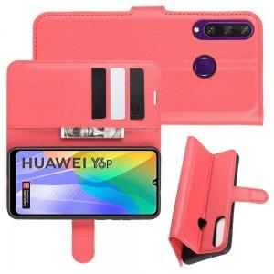 Чехол книжка для Huawei Y6p отделения для карт и подставка Красный