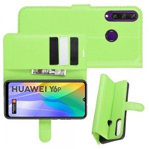 Чехол книжка для Huawei Y6p отделения для карт и подставка Зеленый