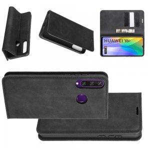 Чехол книжка для Huawei Y6p с магнитом и отделением для карты - Черный