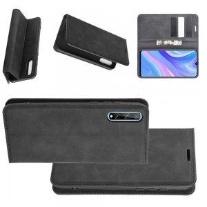 Чехол книжка для Huawei Y8p / Honor 30i с магнитом и отделением для карты - Черный