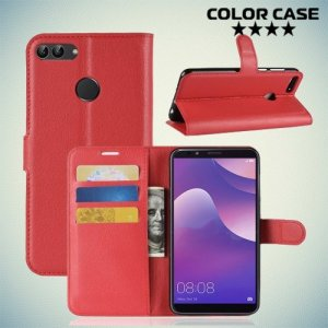 Чехол книжка для Huawei Y9 2018 - Красный