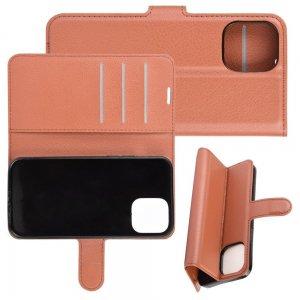 Чехол книжка для iPhone 12 Pro Max отделения для карт и подставка Коричневый