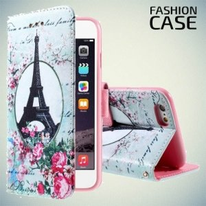 Чехол книжка для iPhone 6S / 6 - с рисунком Париж