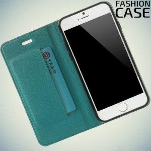 Чехол книжка для iPhone 6S / 6 с скрытой магнитной застежкой - Голубой