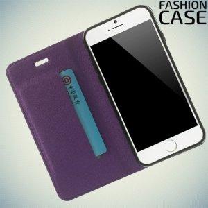 Чехол книжка для iPhone 6S / 6 с скрытой магнитной застежкой - Фиолетовый