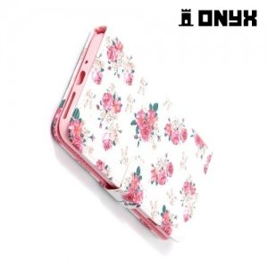 Чехол книжка для iPhone 8 Plus / 7 Plus - Розы на белом
