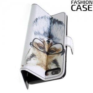 Чехол книжка для iPhone 8 Plus / 7 Plus - с рисунком Лиса