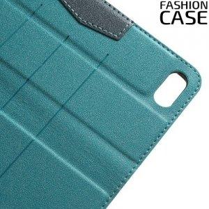 Чехол книжка для iPhone 8/7 с скрытой магнитной застежкой - Голубой
