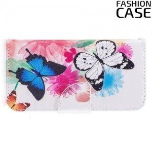 Чехол книжка для iPhone 8 - с рисунком Бабочки