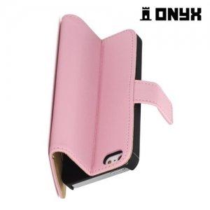 Чехол книжка для iPhone SE - Розовый