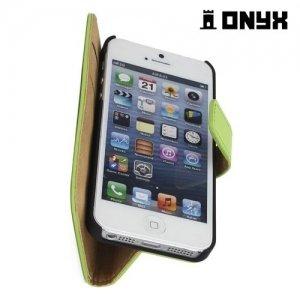 Чехол книжка для iPhone SE - Зеленый