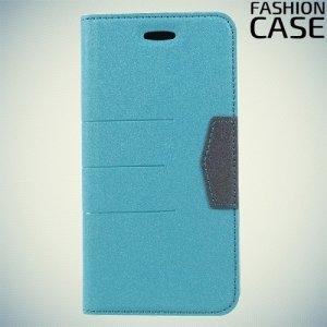 Чехол книжка для iPhone Xs / X с скрытой магнитной застежкой - Бирюзовый