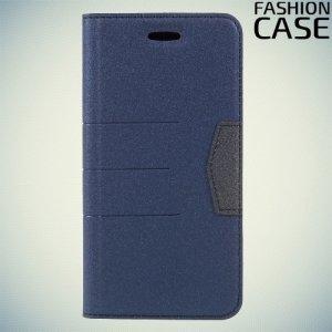 Чехол книжка для iPhone Xs / X с скрытой магнитной застежкой - Синий
