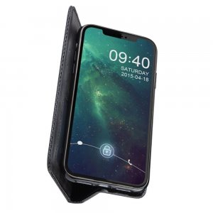 Чехол книжка для iPhone 11 с магнитом и отделением для карты - Черный