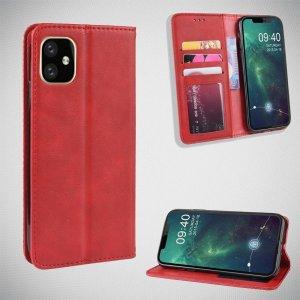 Чехол книжка для iPhone 11 с магнитом и отделением для карты - Красный